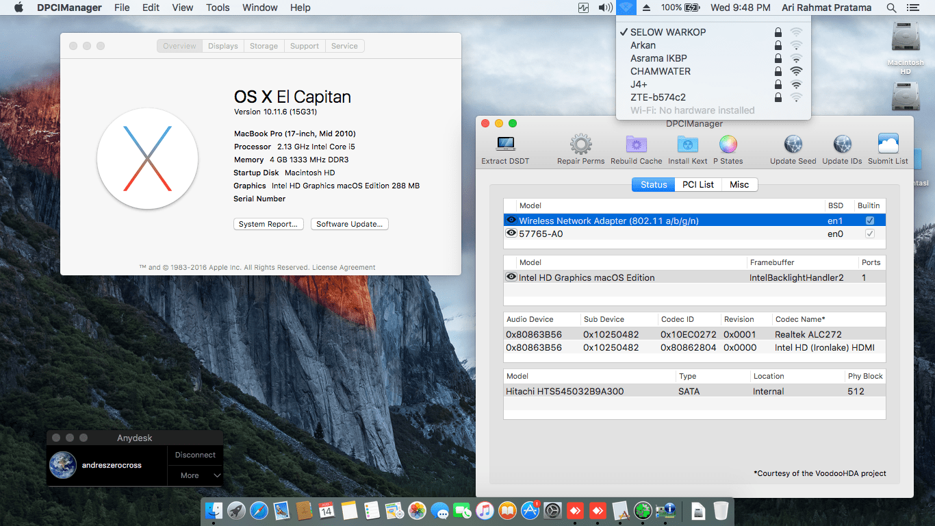 Succes Hackintosh OS X El Capitan 10.11.6 Build 15G31 at Acer 4738Z
